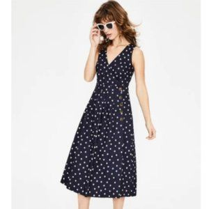 Boden Linen Cotton Blend Arwen Midi Wrap Dress